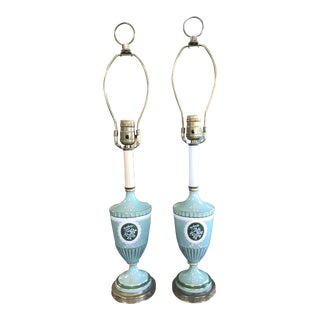 Mid 20th Century Aqua Mediterranean Style Urn Lamps - a Pair For Sale