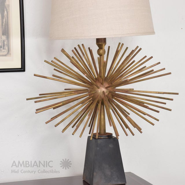 Gold Pair of Mid-Century Mexican Modernist Pani Starburst Brass Table Lamps For Sale - Image 8 of 10