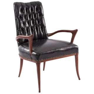 Sculptural Mahogany and Upholstered Armchair For Sale