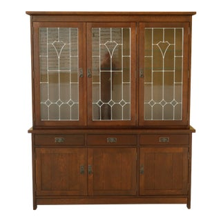 Stickley Mission Oak Arts & Crafts China Cabinet With Leaded Glass For Sale