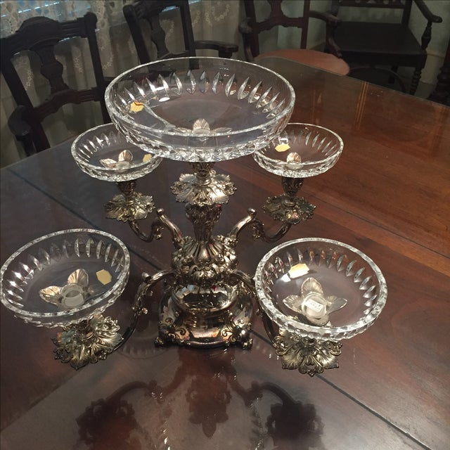 Reed & Barton Silver-Plate Epergne Crystal Liners - Image 7 of 7