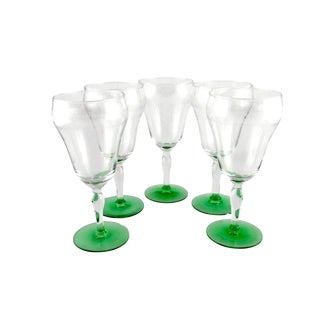 1920s Tiffin-Franciscan Uranium Glass Wine Glasses - Set of 5 For Sale
