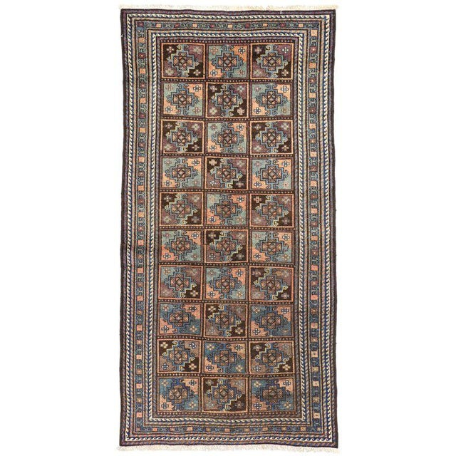 Blue Vintage Shiraz Persian Rug with Mid-Century Modern Style For Sale - Image 8 of 8