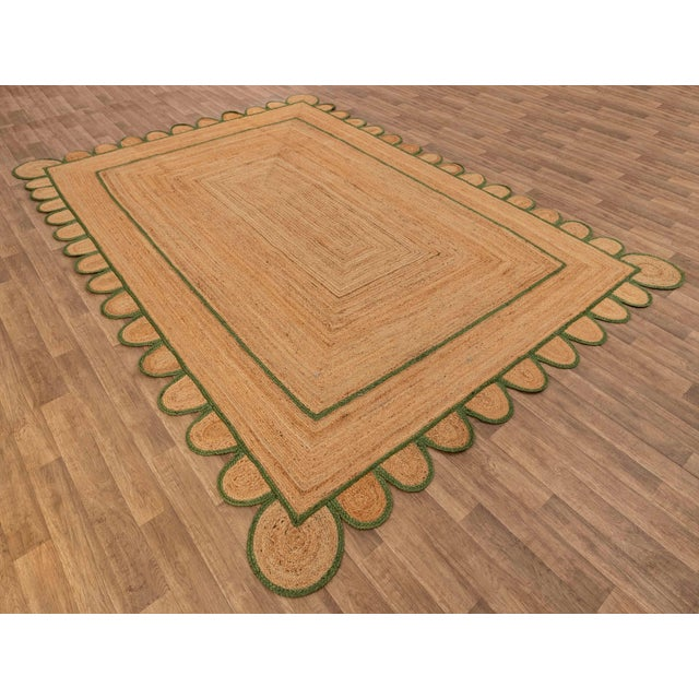 Not Yet Made - Made To Order 4'x6' Olive Green Scallop Jute Hand Made Rug For Sale - Image 5 of 10