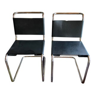 1970s Spoleto Modern Cantilever Leather and Chrome Chairs for Knoll - a Pair For Sale