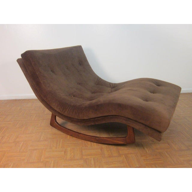 Adrian Pearsall for Craft Associates double wide rocking chaise longue with walnut base and brown, newly upholstered ultra...