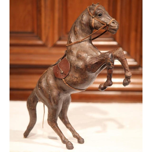 19th Century French Carved & Patinated Leather Rearing Horse Sculpture For Sale - Image 4 of 7