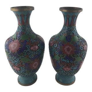 Pair of 20th Century Cloisonne Vases For Sale