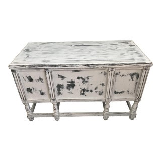 Antique Shabby Chic Annie Sloane Chalk Paris Gray Ikat Paint Storage Trunk For Sale