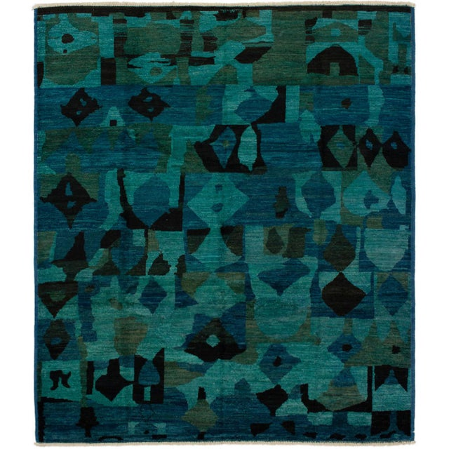Contemporary Green and Teal Rug - 7′ × 9′ For Sale - Image 6 of 6