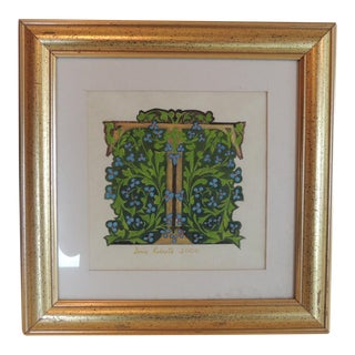 "Vintage Style Hand Painted Alphabet Letter ""T"" Framed Art For Sale"
