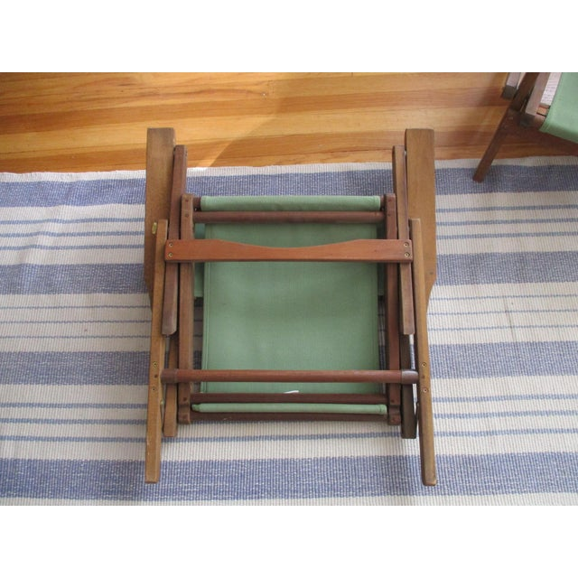 Vintage Teak Folding Canvas Chairs - A Pair For Sale In Phoenix - Image 6 of 10