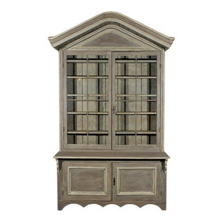 Early 19th Century American Shop Cabinet with Glass Doors and Bonnet Top For Sale