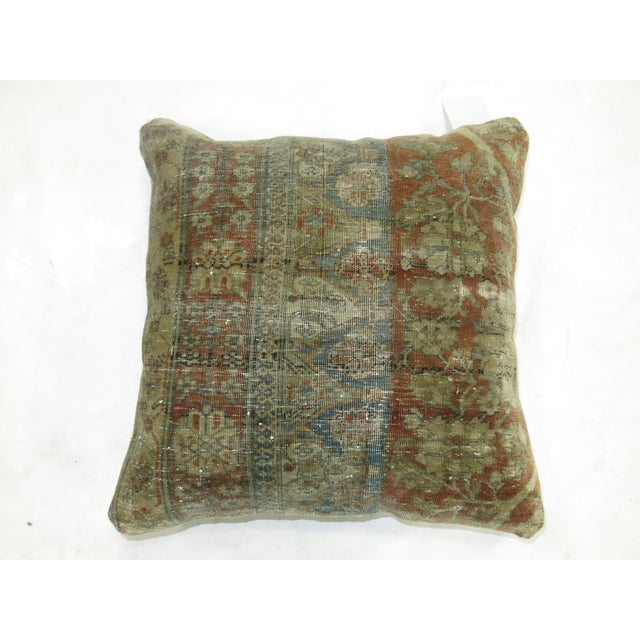 Pillow made from a 19th century persian rug with cotton back. Zipper closure and foam insert provided. 18'' x 18''