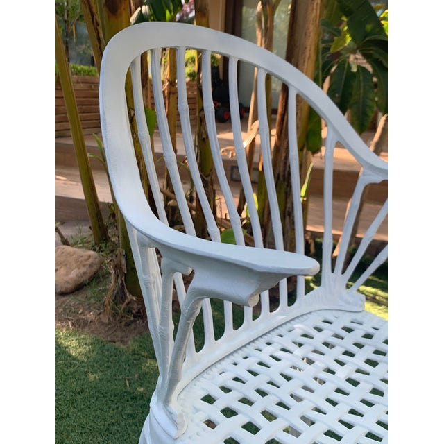 White 20th Renaissance Revival Style Cast Iron White Garden Chairs in Faux Bamboo - a Pair For Sale - Image 8 of 11