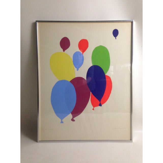 "Fun and colorful midcentury balloon print. Signed what looks like ""Octavio Tonon"" dated '66 and titled, thought I can't..."
