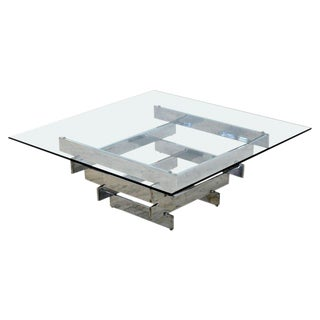 Mid-Century Modern Paul Mayen Habitat Chromed Steel Cityscape Coffee Table For Sale