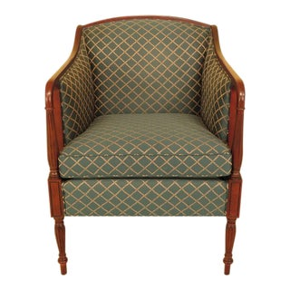 Vintage Thomasville Mahogany Sheraton Upholstered Club Chair For Sale
