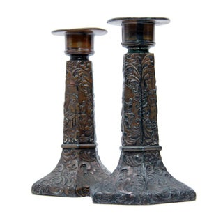 Early 1900s Repousse Copper Plated Candlesticks - a Pair Preview