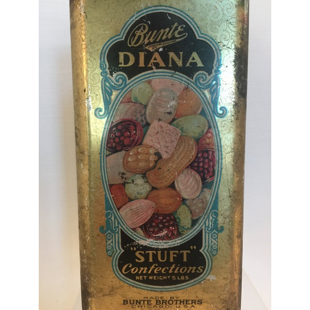 1920's Vintage Bunte Brothers Diana Stuft Confections Tin For Sale - Image 7 of 7
