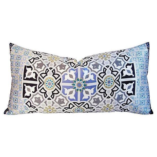 "Early 21st Century Jumbo Italian Silk Andalusian Moorish Feather/Down Lumbar Pillow 37"" X 18"" For Sale - Image 5 of 8"