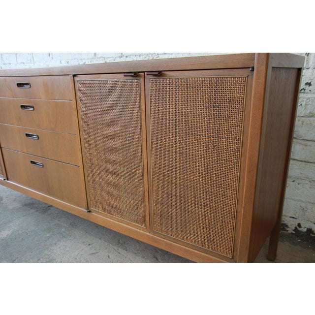 Wood Mid-Century Modern Woven Front Credenza by Founders For Sale - Image 7 of 11