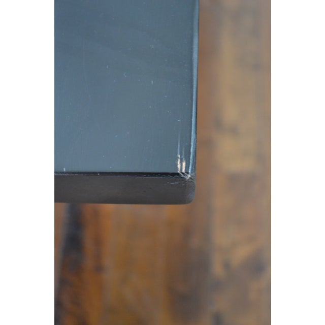 Custom Ebony Wood Table With Polished Steel Legs - Image 6 of 10