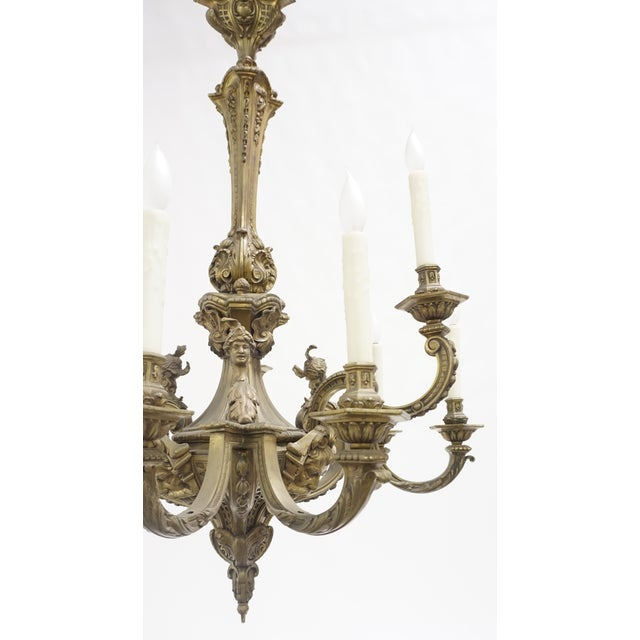 Gold 19th Century Second Empire Detailed Faces & Acanthus Leaf Bronze Chandelier For Sale - Image 8 of 11