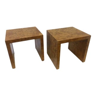 Mid-Century Modern Milo Baughman Burl Side Tables - a Pair For Sale