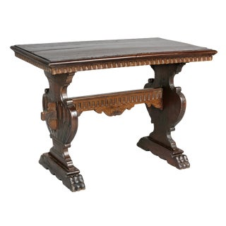 Italian Baroque Style Walnut Table For Sale