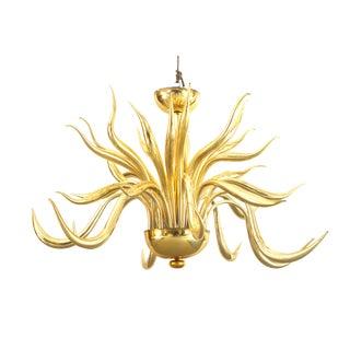 Post-War Design Italian Venetian Murano Modern Gilt Glass Chandelier For Sale