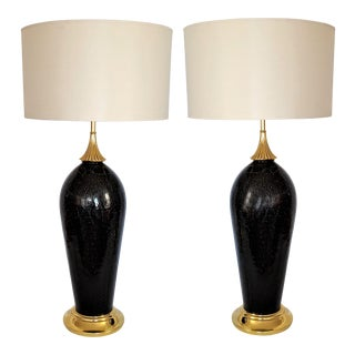 Antique Black Crackle Murano Glass Italian Table Lamps - a Pair