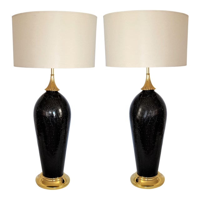 Antique black crackle murano glass italian table lamps a pair antique black crackle murano glass italian table lamps a pair image 1 of 11 aloadofball Image collections