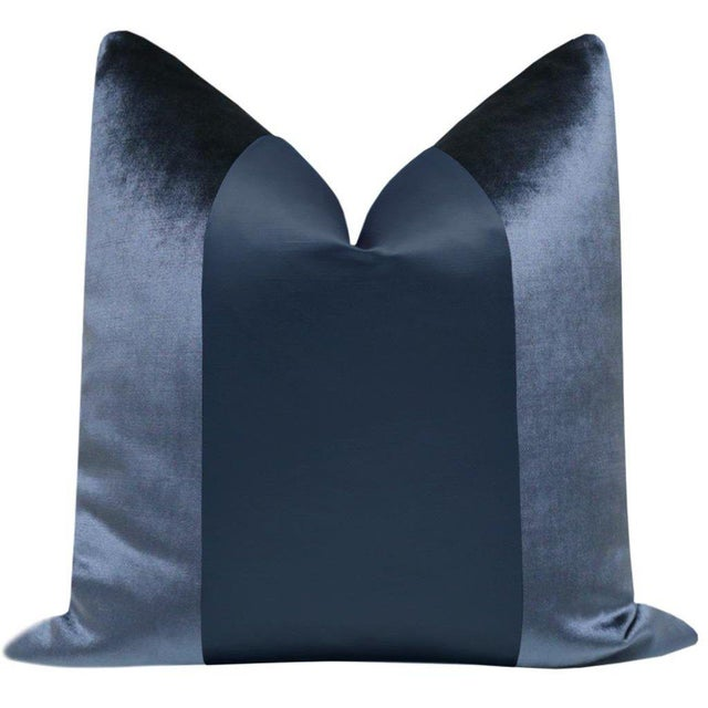 """Pair of 22"""" prussian blue velvet pillows with center silk panel in a complimenting blue. Meticulously handcrafted with..."""