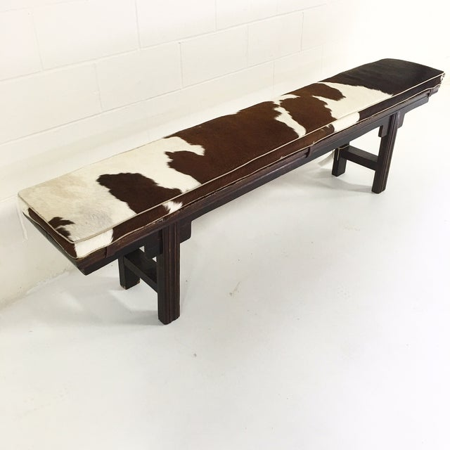Vintage Chinese Bench with Cowhide Cushion - Image 3 of 8