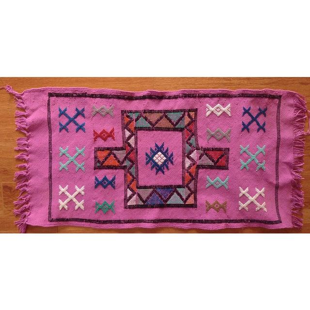 MoroccanTribal Motif Small Pink Rug - 1′6″ × 3′ - Image 2 of 8