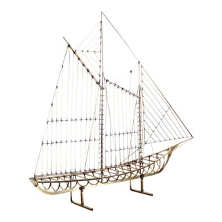 Long Brass 1976 Curtis Jere Sail Boat Sculpture For Sale
