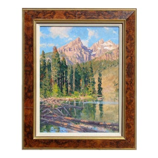"1990s Richard Hilker ""Spring Lake # Original Oil Painting on Board, Framed For Sale"