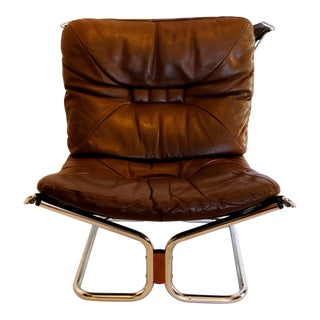 1970s Scandinavian Modern Ingmar Relling Chrome and Leather Lounge Chair
