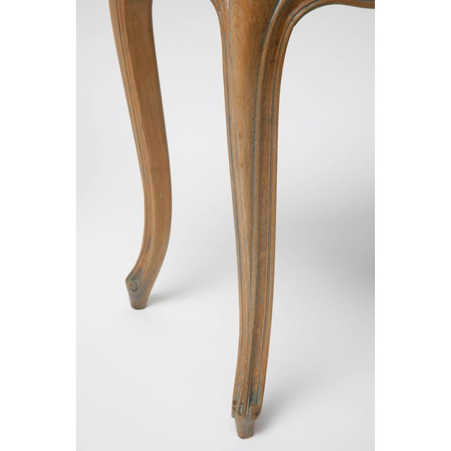 Vintage Louis XV Beechwood Benches / Stools in Blue-Grey Silk Velvet - a Pair For Sale - Image 9 of 11