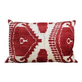 Handsoft Silk Velvet Ikat Pillow For Sale