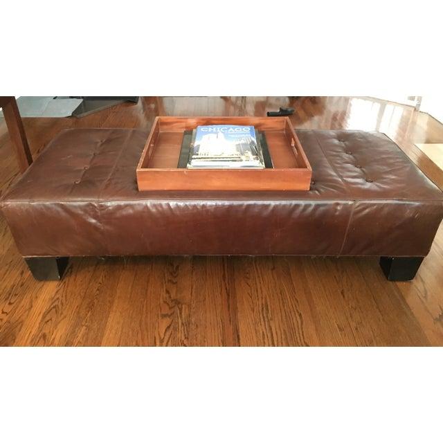 Restoration Hardware Leather Bench - Image 3 of 5