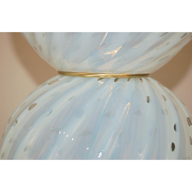 Murano Vintage Murano White Opaline Glass Table Lamps For Sale - Image 4 of 12