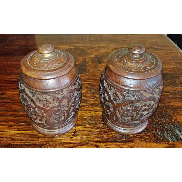 Rosewood 19c Anglo Indian Pair of Carved Wooden Spice Urns For Sale - Image 7 of 10