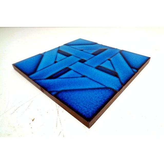 Cubism Mid Century Modern Cubism Cobalt Blue Italian Tile Trivet For Sale - Image 3 of 6