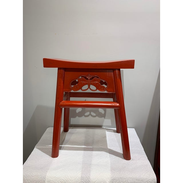 Chinese Red Wooden Butterfly Stool For Sale - Image 3 of 3