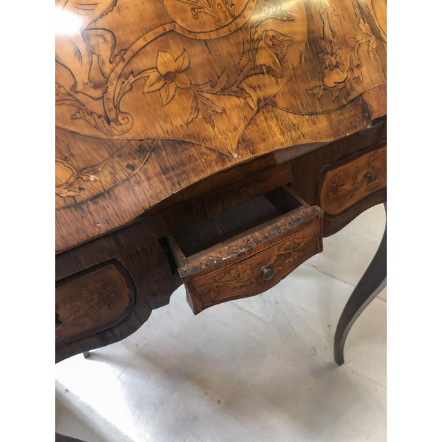 Metal Inlay Marquetry Bombay Desk / Secretary For Sale - Image 7 of 10