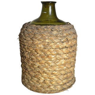 19th Century Mouth Blown Wine Bottle With Basket For Sale