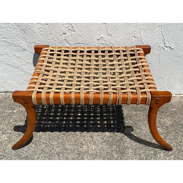 Modern Vintage Klismos Mahogany and Woven Rope Bench, in the Manner of Robsjohn-Gibbons For Sale - Image 3 of 11