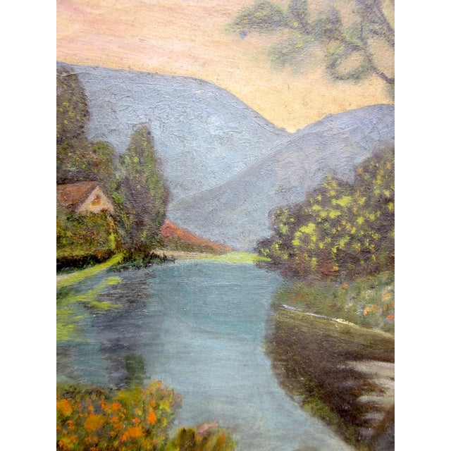 Canvas 19th Century Antique Outsider Art Rural Landscape Oil on Canvas Painting For Sale - Image 7 of 11